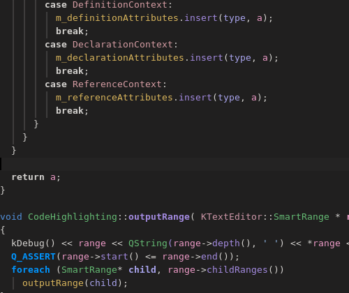 highlighting in kdevelop with dark color scheme